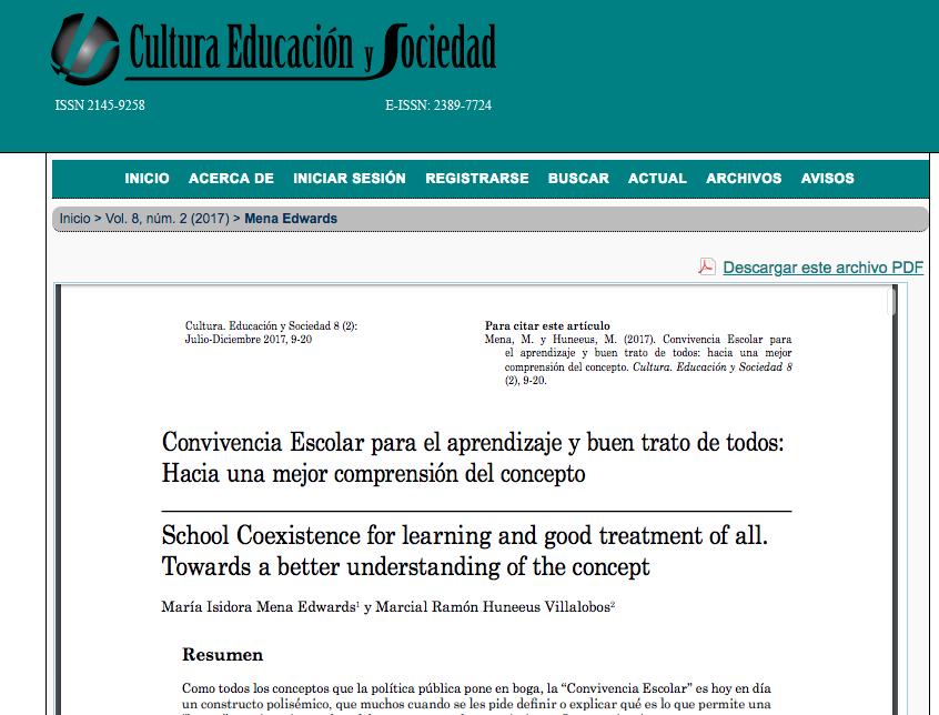 Convivencia Escolar para el aprendizaje y buen trato de todos
