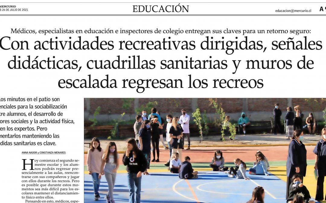 Con actividades recreativas dirigidas, señales didácticas, cuadrillas sanitarias y muros de escalada regresan los recreos, El Mercurio